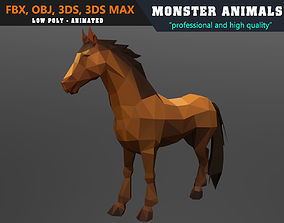 animated Low Poly Horse Cartoon 3D Model Animated - Game