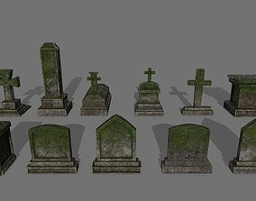 3D asset Tombstone set