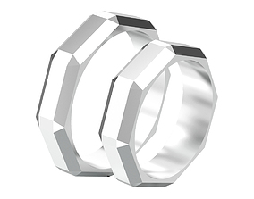 Set of two geometric facets chiseled ring 3D print model