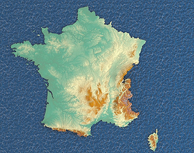 3d map France with relief 5k