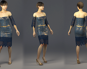 Jeans Dress with with gold color MD and 3ds max and Vray