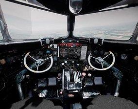 3D asset game-ready DC3 C-47 World War 2 Airplane Cockpit