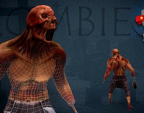 Aggressive Zombie 3D model animated