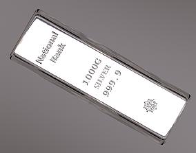 Silver Ingot 3D model game-ready