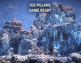 frozen Ice pillars 3D asset