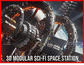Modular Sci Fi Space Station Ship Vehicle Futuristic 3D