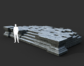 3D model Low poly Snow Ruin Asia Temple 07