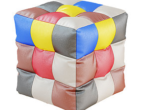 3D Eco-leather pouf colored