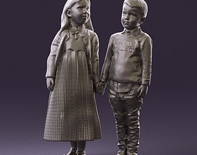000996 little boy in red and little girl together 3D 1
