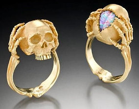 death 3D print model gold skull ring opal brain