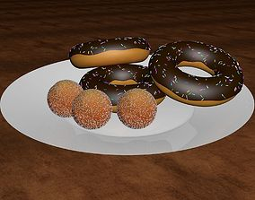 3D Chocolate Donut and Mini Donut with Plate