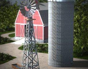 3D model DAZ Water Pump and Grain Silo