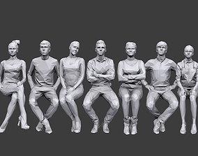Lowpoly People Sitting Pack Volume 7 3D model