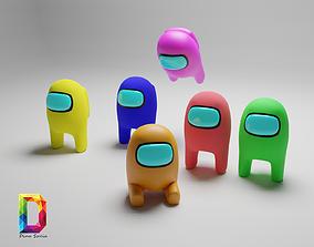 among us Rigged multicolor fbx 3D asset