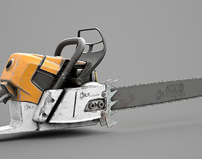 Game Ready Aged Chainsaw 3D asset