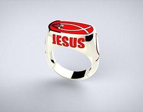 3D printable model Jesus fish ring