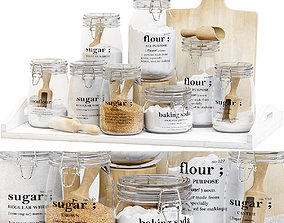 3D model Set of glass jars for the kitchen with sugar and