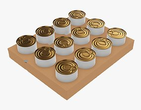 Tin can food shipping tray 3D model