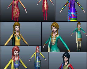 Low poly lady model with 6 dresses realtime
