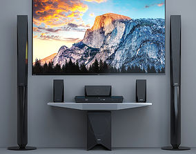 3D model Home Theater Sony BDV-E4100 and TV Sony AF8