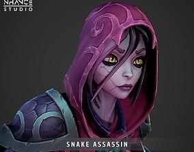 3D asset animated Stylized Snake Assassin Hero