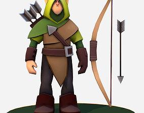 3D asset Handpaint Cartoon Archer Scout MMO rpg Character