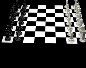 Chess board with coins 3D model- Blender - animated 2