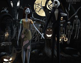 3D AVE The nightmare before christmas set Sally Jack