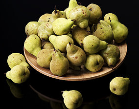 3D model Pakham pears in a wooden fruit bowl