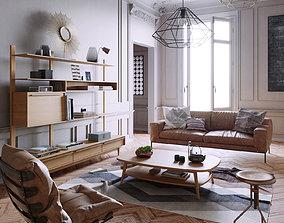 3D model Mid Century interior scene