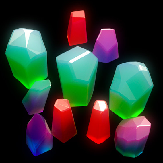 Set of colorful abstract crystals