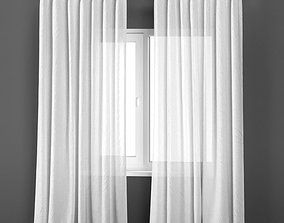 White transparent curtains from flax 3D model