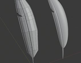Feather cartoon style quad polygon subdividable 3D asset