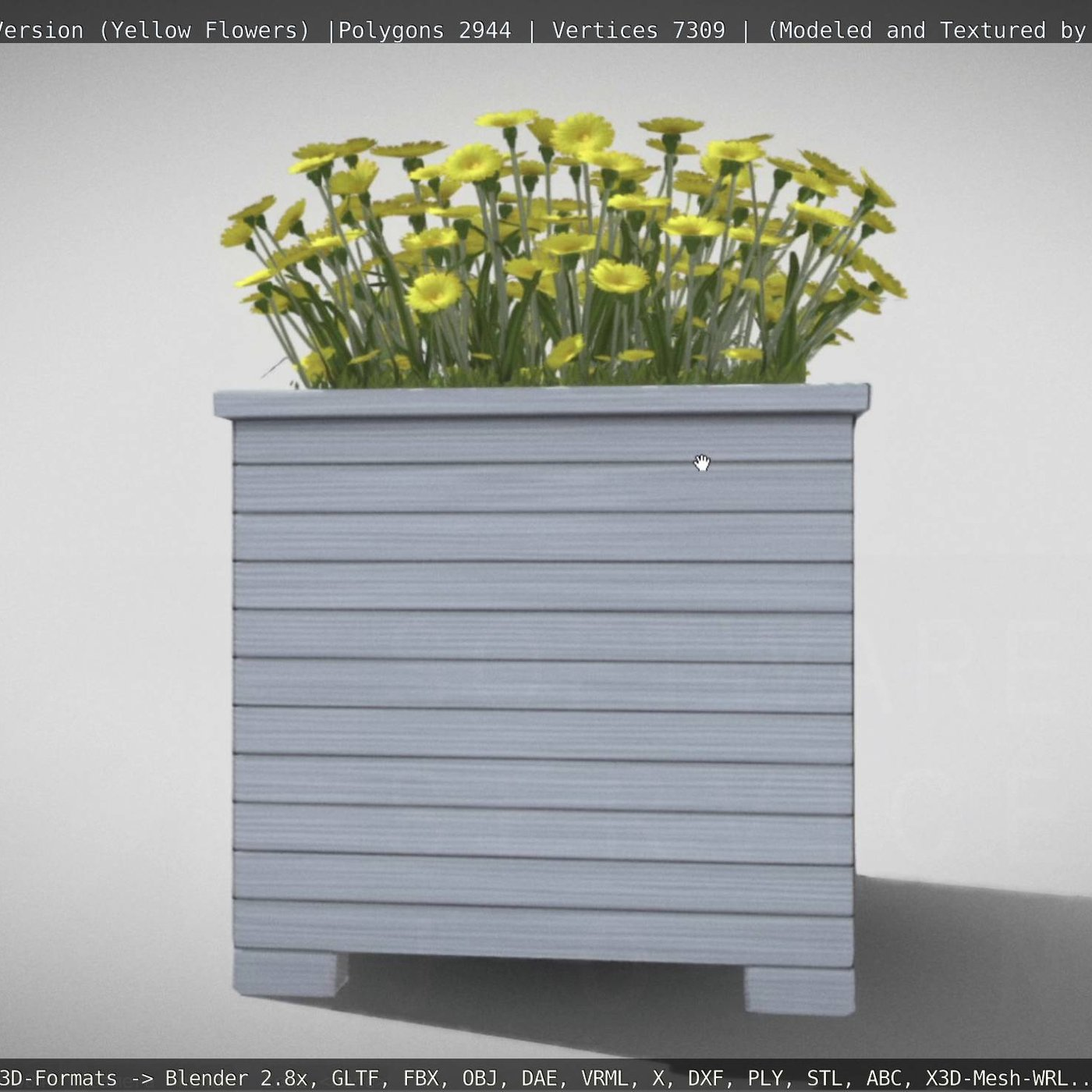 Public Plant Pot Wood-Version with Yellow Flowers