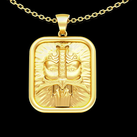 Sword of a fighter rectangle pendant jewelry gold necklace 3D print model