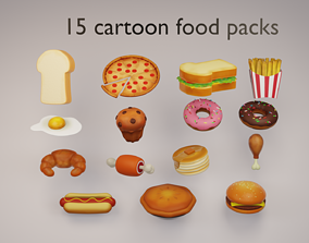 15 cartoon food assets game-ready