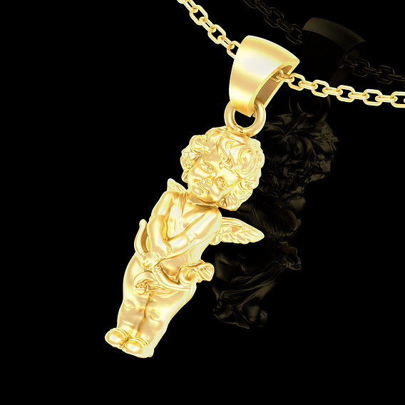 Angel Baby Pendant jewelry Gold 3D print model