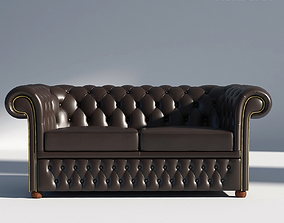 Chesterfield Sofa 2 Brown 3D