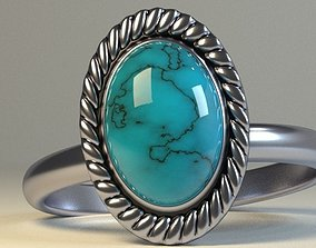 Stone silver ring 3D print model