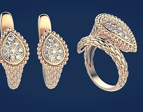 3D printable model Set ring and earring 2
