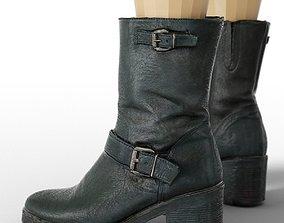 3D asset Boot Black Leather Buckles Woman Footwear