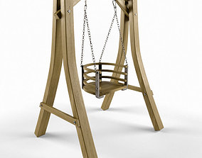 3D One Seat Wooden Swing 15