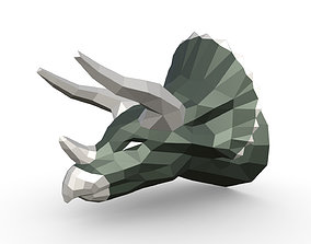 Triceratops head low poly 3D printable model