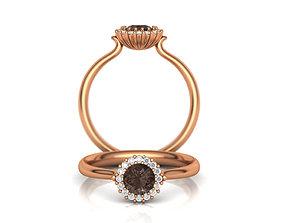 Chocolate Gem Engagement ring Printable 3d model