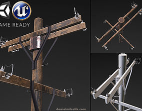 3D model Old electricity pole
