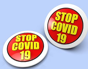badge Badge STOP COVID 19 for 3D printing