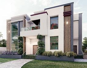 Modern house villa 3D model exterior