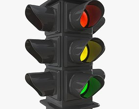 3D model caution Traffic Light