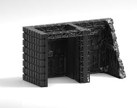 Vehicle or Mech Hangar with battle 3D printable model 1
