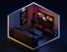 Low Poly Isometric - Room 3D asset